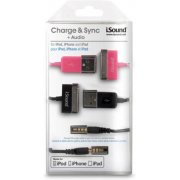 DreamGear Charge & Sync + Audio - Black and Pink